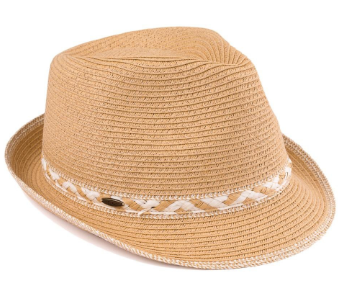 Fedora with Straw Zig Zag Accent - Harp & Sole Boutique