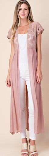 Short Sleeve Long Cardigan with Lace - Harp & Sole Boutique