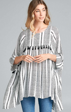 Load image into Gallery viewer, Black Tassel Poncho Top - Harp & Sole Boutique
