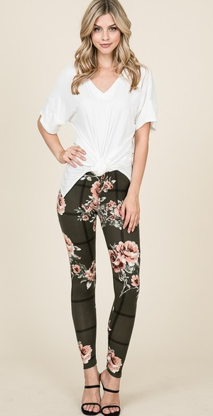 Floral Windowpane High Waisted Leggings - Harp & Sole Boutique