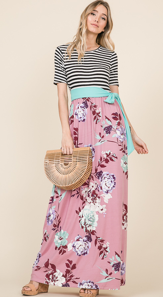 Floral Maxi Dress with Striped Top - Harp & Sole Boutique