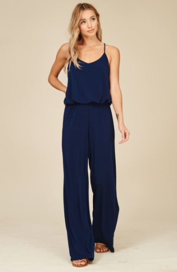 Navy Racerback Jumpsuit with Elastic Waist and Wide Leg - Harp & Sole Boutique