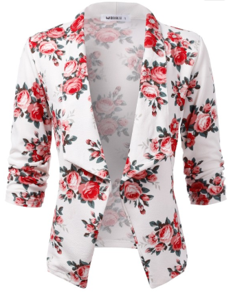 White and Rose Floral 3/4 Sleeve Open Front Blazer - Harp & Sole Boutique