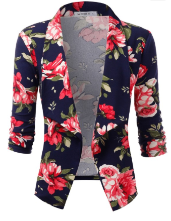 Navy & Pink Floral 3/4 Sleeve Open Front Blazer - Harp & Sole Boutique