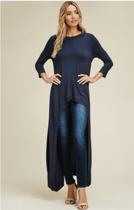 Navy 3/4 Sleeve High Low Tunic Top - Harp & Sole Boutique