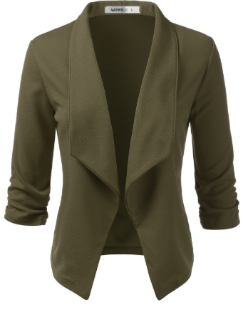 Olive 3/4 Sleeve Open Front Blazer - Harp & Sole Boutique