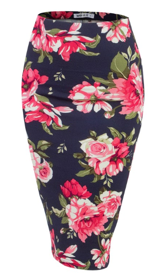 Navy and Pink Floral Pencil Skirt - Harp & Sole Boutique