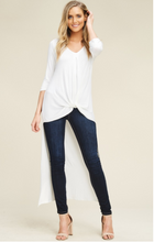 Load image into Gallery viewer, 3/4 Sleeve with V-Neck and Twist Front High Low Tunic Top - Harp & Sole Boutique