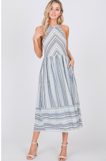 Striped Halter Midi Dress with Pockets - Harp & Sole Boutique