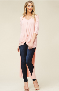 3/4 Sleeve with V-Neck and Twist Front High Low Tunic Top - Harp & Sole Boutique