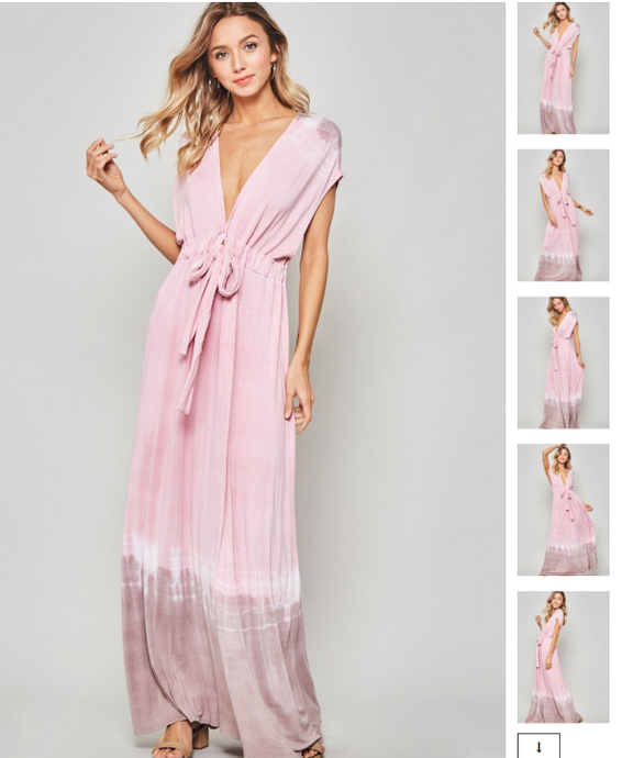 Pink & Mocha Tie-Dye Knit Maxi Dress - Harp & Sole Boutique