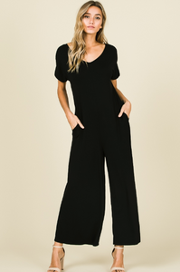 Short Sleeve Wide Leg Black Jumpsuit with Pockets - Harp & Sole Boutique