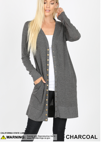 Charcoal Thigh Length Snap Button Cardigan - Harp & Sole Boutique