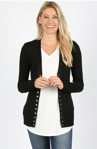 Black Snap Button Cardigan