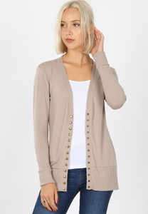 Light Mocha Snap Button Cardigan