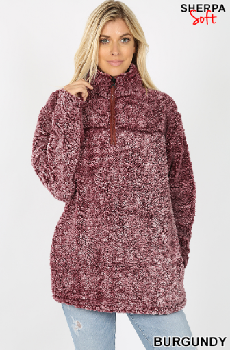 Faded Burgundy Sherpa Half Zip Pullover - Harp & Sole Boutique