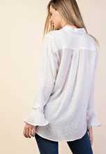 Load image into Gallery viewer, Polka Dot Ruffle Blouse - Harp & Sole Boutique