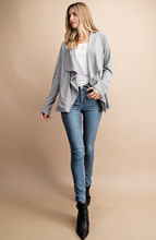 Load image into Gallery viewer, Heather Gray Lace Back Shawl Cardigan with Pockets - Harp & Sole Boutique