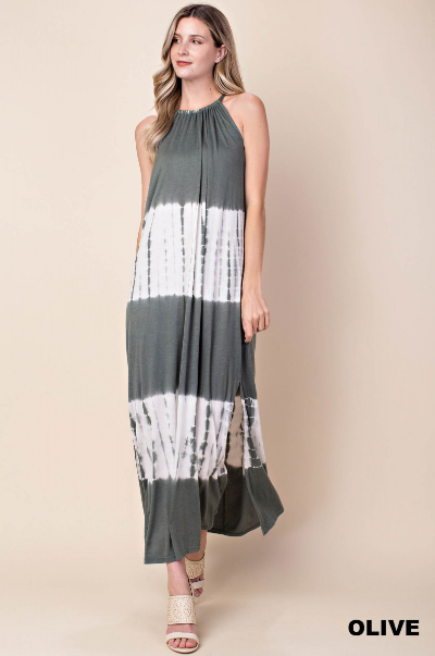 Faded Olive Tie Dye Halter Maxi Dress - Harp & Sole Boutique