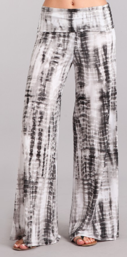 Charcoal Tie Dye Wide Leg Pants with Foldover Waistband - Harp & Sole Boutique