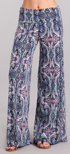 Paisley Wide Leg Pants with Foldover Waistband - Harp & Sole Boutique