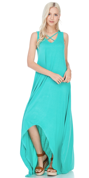 Sleeveless Cross Front High-Low Maxi Dress - Harp & Sole Boutique