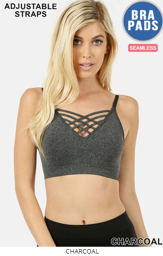 Charcoal Lattice Bralette with Removable Pads - Harp & Sole Boutique