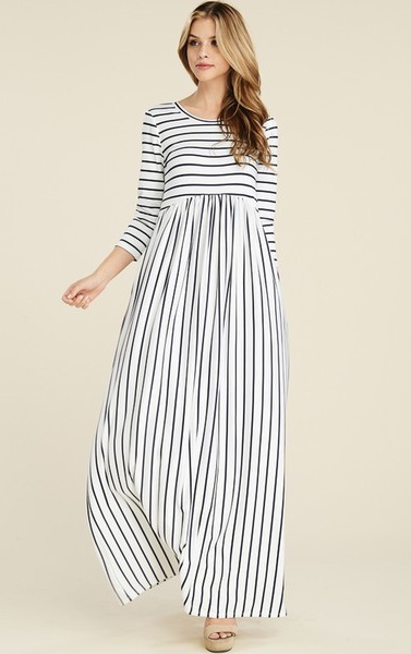 3/4 Sleeve Empire Waist Ivory & Black Striped Maxi Dress - Harp & Sole Boutique