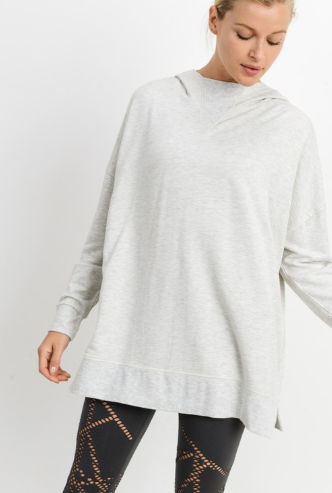 Light Gray Oversized Brushed Hoodie Pullover - Harp & Sole Boutique