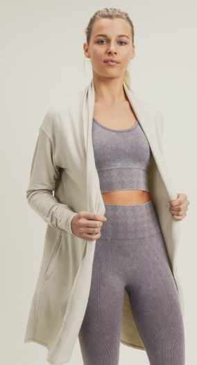 Natural Longline Open Front Cardigan - Harp & Sole Boutique