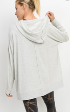 Load image into Gallery viewer, Light Gray Oversized Brushed Hoodie Pullover - Harp & Sole Boutique