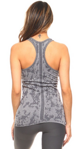 Charcoal Splatter Print Seamless Racerback Tank - Harp & Sole Boutique