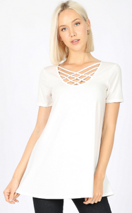 White Lattice Top - Harp & Sole Boutique