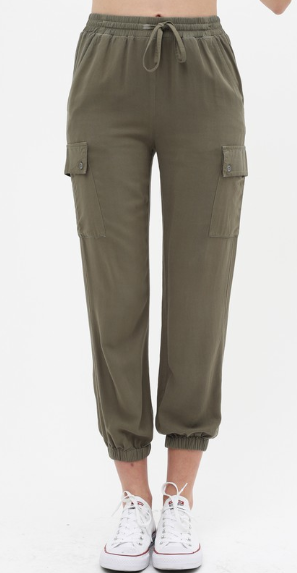 Olive Cargo Crop Joggers