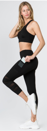Black Workout Leggings with Mesh Pockets - Harp & Sole Boutique