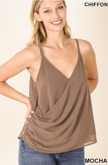 Mocha Side Button Tank Top - Harp & Sole Boutique