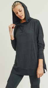 Heather Black Oversized Brushed Hoodie Pullover - Harp & Sole Boutique