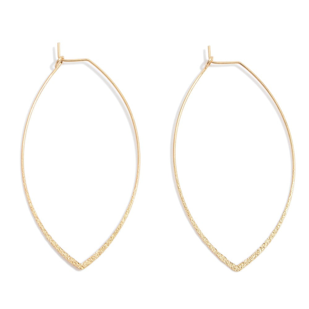 Shimmer Metal Pointed Oval Wire Hoop Earrings