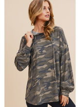 Load image into Gallery viewer, Slashed Back Lightweight Camo Hoodie