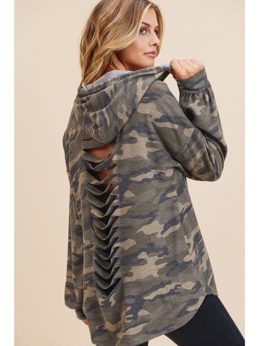 Slashed Back Lightweight Camo Hoodie