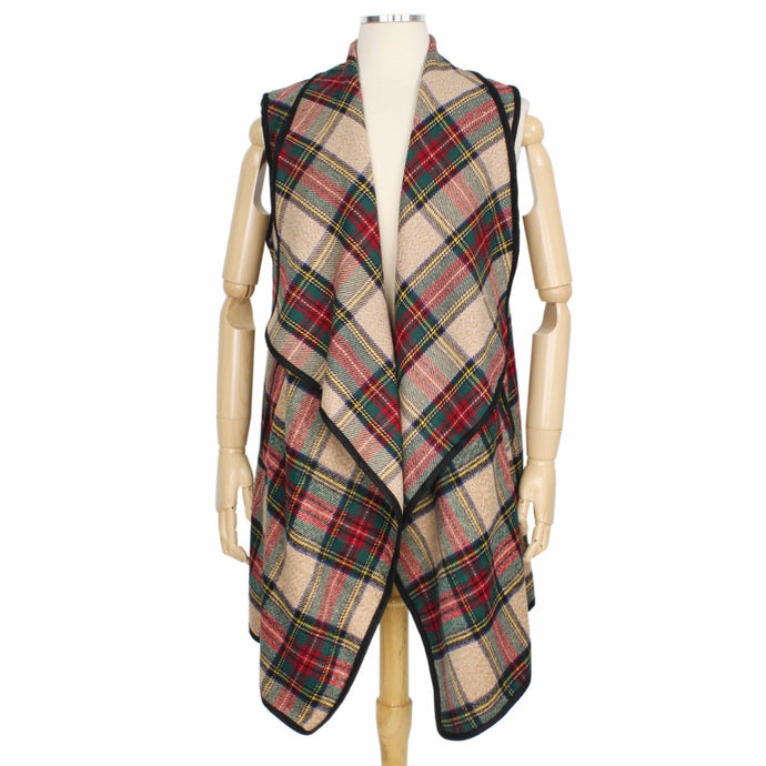 Tartan Plaid Vest with Pockets
