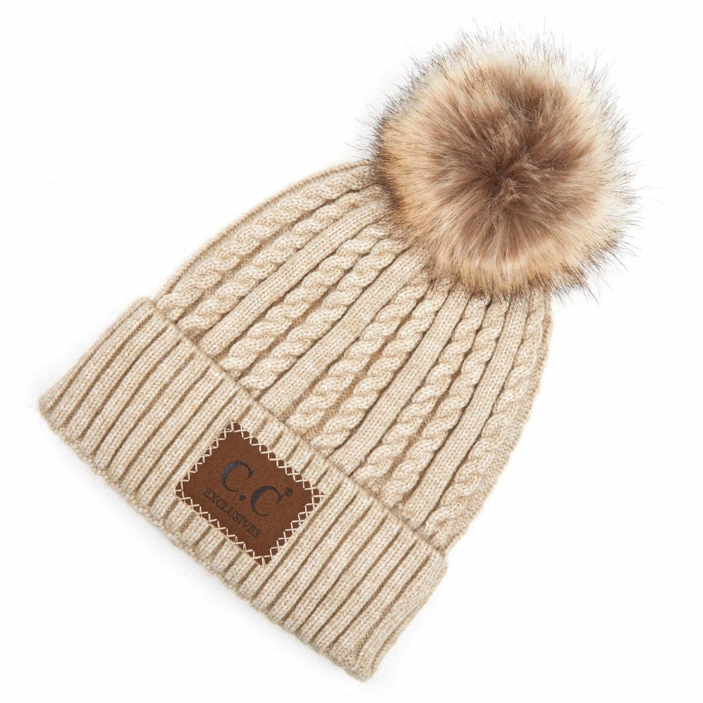 Double Braided Knit Pom Beanie with C.C Brand Leather Patch