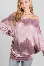 Load image into Gallery viewer, Tie Dye Mauve One Shoulder Top