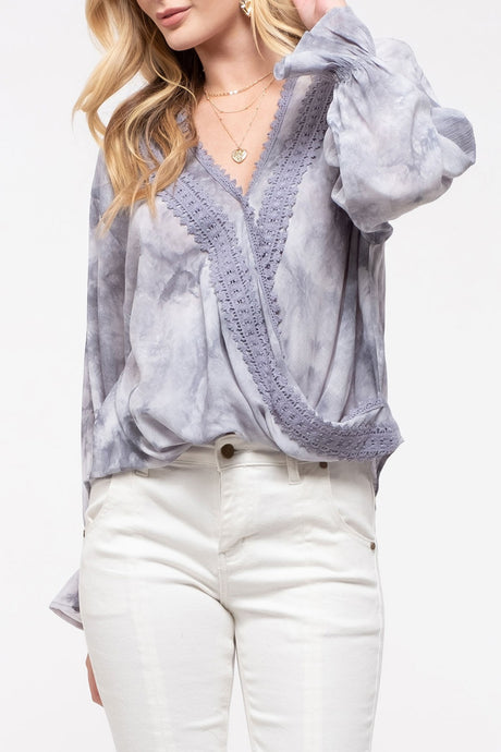Tie Dye and Crochet Trim Surplice Top
