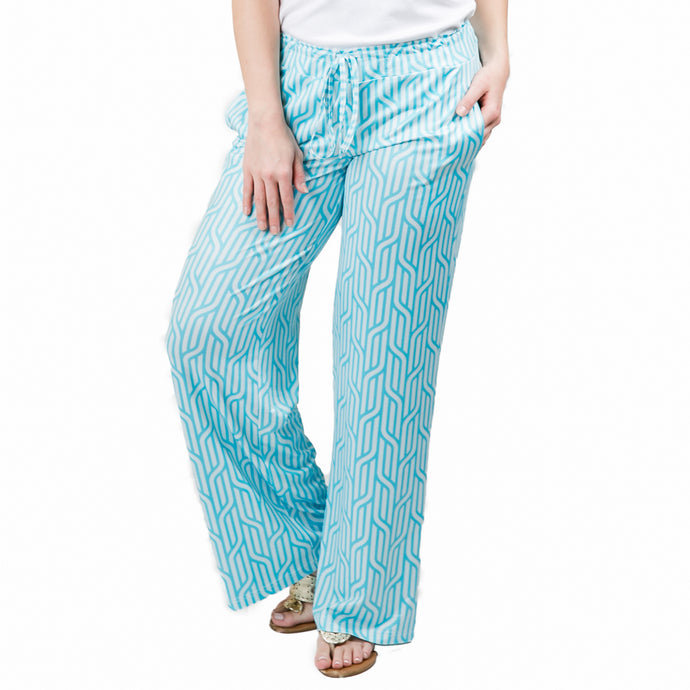 Turquoise Nautical Braid Palazzo Pants