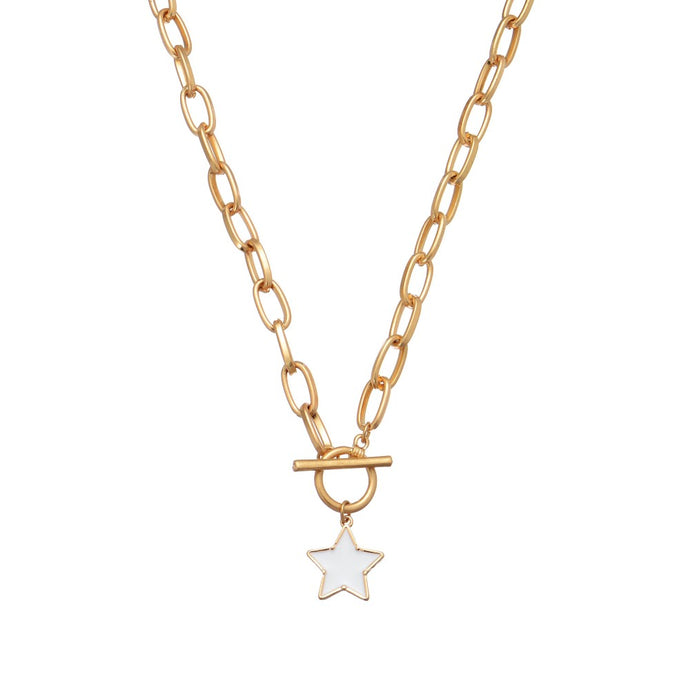 White Star Charm with Gold Paper Clip Chain Necklace