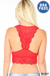 Lace Bralette with Hour Glass Back with Removable Pads - Harp & Sole Boutique