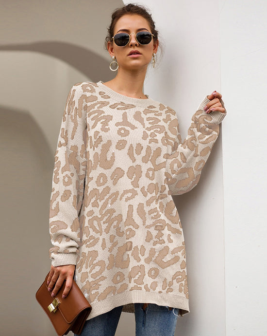 Beige & White Leopard Print Knit Sweater