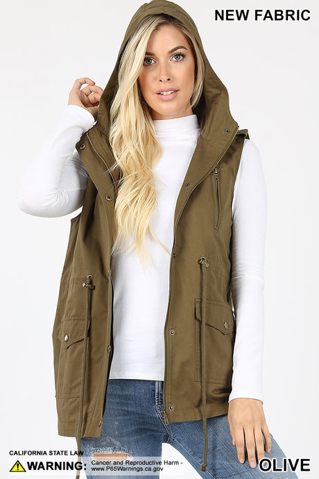 Olive Military Vest with Hood - Harp & Sole Boutique