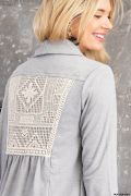 Heather Gray Lace Back Shawl Cardigan with Pockets - Harp & Sole Boutique